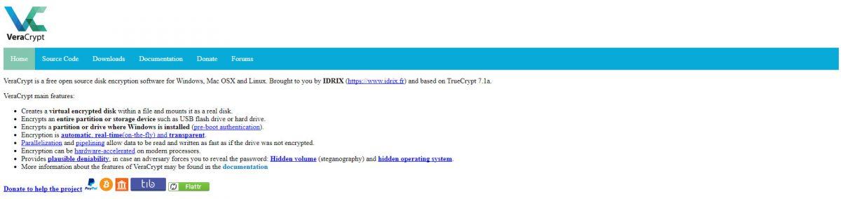 VeraCrypt website