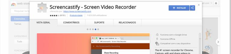 Screencastify: Capturar Imagens do Ecrã