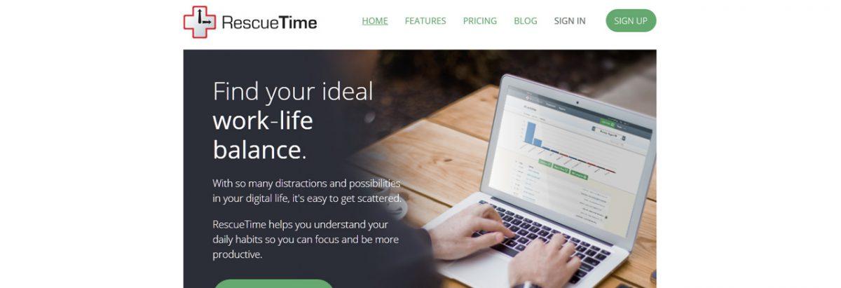 RescueTime Gerir o tempo online